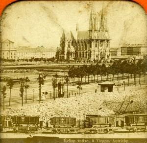 Austria Wien Vienna Votive Church Train Railway Old Photo Stereoview Tissue 1870
