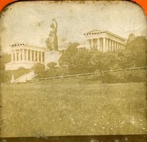 Germany Munich Ruhmeshalle & Bavaria Statue Old Photo Stereoview Tissue 1870