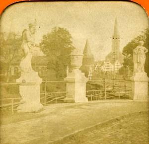 Germany Lubeck Lübeck Bridge & Statues Old Photo Stereoview Tissue 1870