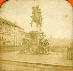 Germany Berlin Equestrian Statue Great Elector Old Photo Stereoview Tissue 1870