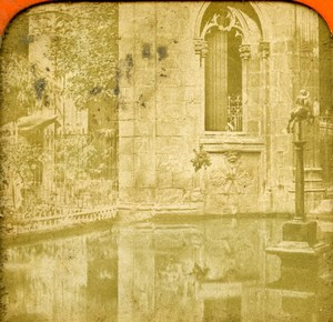 Spain Catalonia Barcelona Cloister Old Photo Stereoview Tissue 1870