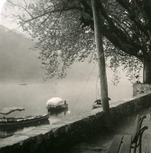 Italy Lake Como Tremezzo Promenade Villa Carlotta Old Stereoview Photo 1900