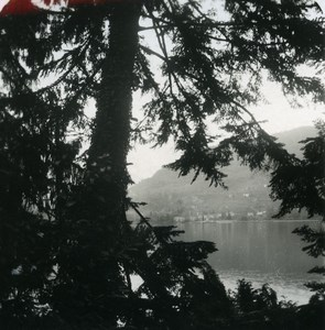 Italy Lake Como Varenna Panorama from Villa Carlotta Old Stereoview Photo 1900