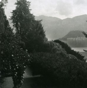 Italy Lake Como Bellagio Panorama from Villa Carlotta Old Stereoview Photo 1900