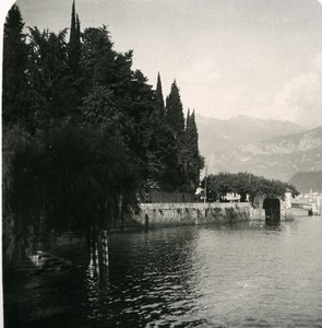 Italy Lake Como Bellagio from Tremezzo Old Stereoview Photo 1900
