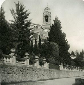 Italy Lake Como Tremezzo Church Old Stereoview Photo 1900