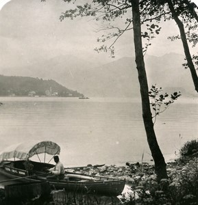 Italy Lake Como Tremezzo Panorama Boat Old Stereoview Photo 1900