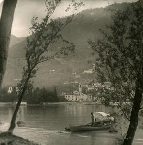 Italy Lake Como Lenno Panorama Boat Old Stereoview Photo 1900