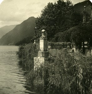 Italy Lake Como Villa entry Old Stereoview Photo 1900