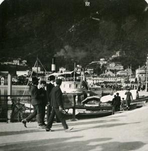 Italy Lake Como Boat landing San Agostino Old Stereoview Photo 1900