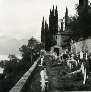 Italy Lake Como Varenna Cemetery Old Stereoview Photo 1900