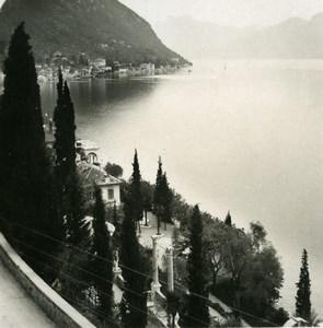 Italie Lac de Come Varenna panorama Fiumelatte Ancienne Photo Stereo 1900