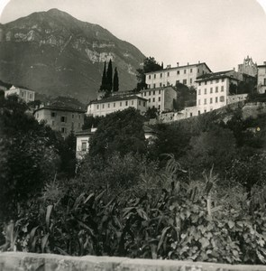 Italy Lake Como Menaggio Town Heights Old Stereoview Photo 1900