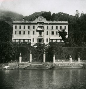Italy Lake Como Tremezzo Villa Carlotta Old Stereoview Photo 1900