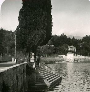 Italy Lake Como Tremezzo Landing Stair Villa Old Stereoview Photo 1900