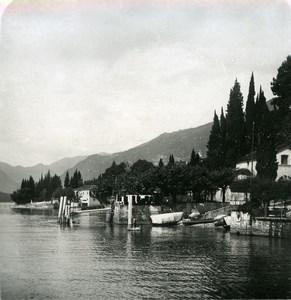Italy Lake Como Tremezzo view towards Lenno Old Stereoview Photo 1900