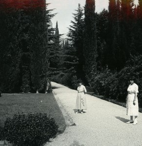 Italy Lake Como Lecco Villa San Martino Garden Photo Stereoview Possemiers 1920