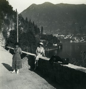 Italy Lake Como Blevio panorama Old Photo Stereoview Possemiers 1920