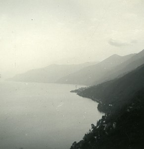 Italy Lake Maggiore Ronco towards Brissago Photo Stereoview Possemiers 1920