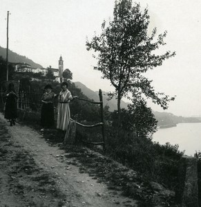 Italy Lake Maggiore near Ronco Old Photo Stereoview Possemiers 1920