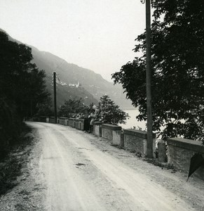Italy Lake Maggiore Road near Ronco Old Photo Stereoview Possemiers 1920