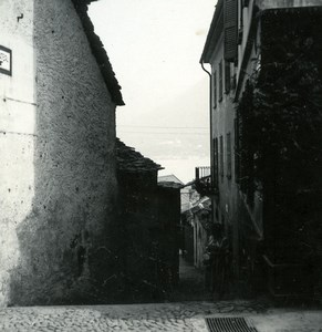 Italy Lake Maggiore Brissago narrow street Old Photo Stereoview Possemiers 1920