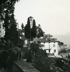Italy Lake Maggiore Brissago Church Cypress Old Photo Stereoview Possemiers 1920