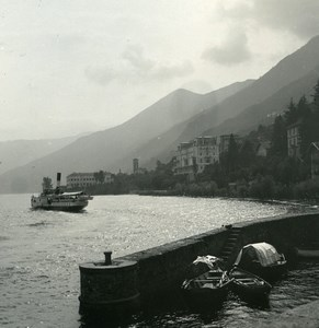 Italy Lake Maggiore Brissago Boat Pier Cannobio Photo Stereoview Possemiers 1920
