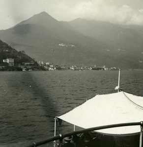 Italy Lake Maggiore Cannobio panorama Old Photo Stereoview Possemiers 1920