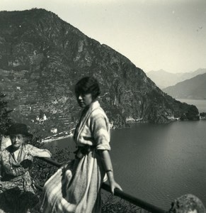 Italy Lake Como Menaggio Engadine Old Photo Stereoview Possemiers 1920