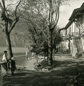 Switzerland Lake Lugano Cantine di Caprino Old Photo Stereoview Wehrli 1900