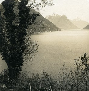Italy Lake Lugano Bacino di Porlezza Old Photo Stereoview Wehrli 1900
