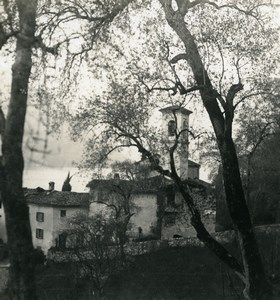 Switzerland Lake Lugano Castagnola Church Old Photo Stereoview Wehrli 1900