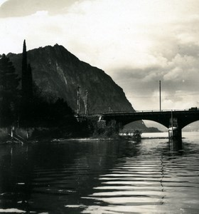 Switzerland Lake Lugano Monte San Salvatore Old Photo Stereoview Wehrli 1900