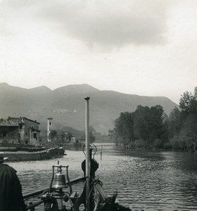 Italy Lake Lugano Stretto di Lavena Ponte Tresa Old Photo Stereoview Wehrli 1900