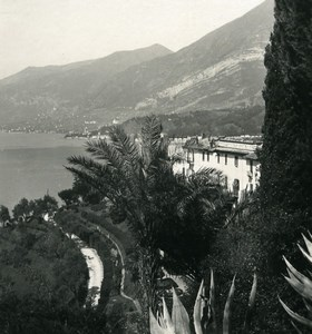 Italy Lake Como Bellagio Villa Serbelloni Garden Photo Stereoview Wehrli 1900