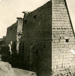 Egypt Luxor Temple Louxor Pylon Old Stereoview Photo 1900