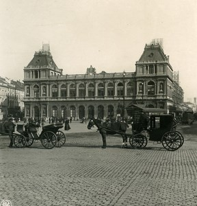 Belgium Brussels North Railway Station Horse Carriages NPG Stereoview Photo 1900