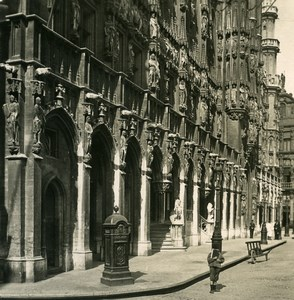 Belgium Brussels Bruxelles City Hall Façade Old NPG Stereoview Photo 1900