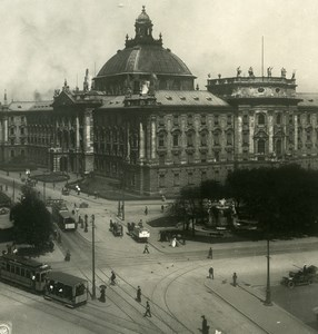 Germany Munich Courthouse Tramway Old Photo Stereoview NPG 1900