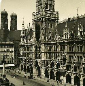Germany Munich City Hall Rathaus Old Photo Stereoview NPG 1900