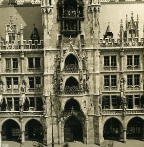 Germany Munich City Hall Rathaus Kunstuhr Old Photo Stereoview NPG 1900