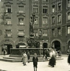 Germany Munich Fountain Fortuna Brunnen Old Photo Stereoview NPG 1900
