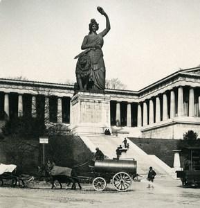 Allemagne Munich Statue Bavaria Camion d'arrosage Ancienne Photo Stereo NPG 1900