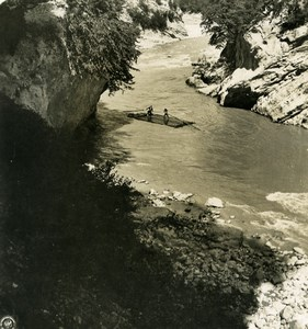 Caucasus Mountain Boat on Rioni Rion River ????? Old Photo Stereoview NPG 1906