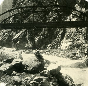 Caucasus Mountain Georgia Darial Devil Bridge Old Photo Stereoview NPG 1906