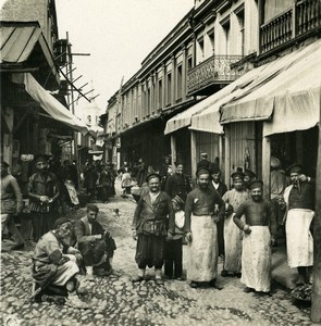 Caucasus Georgia Tiflis Meidan Busy Street Tbilisi Old Photo Stereoview NPG 1906