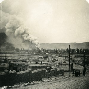 Caucase Transcaucasie Bakou Champs pétrolifères Azerbaïdjan Baki Ancienne Photo Stereo NPG 1906