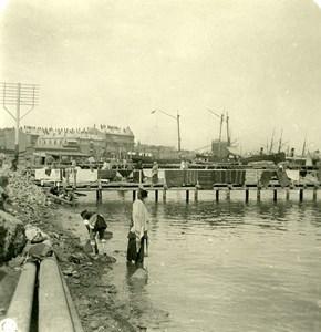 Caucase Transcaucasie Bakou Vue du Port Azerbaïdjan Baki Ancienne Photo Stereo NPG 1906