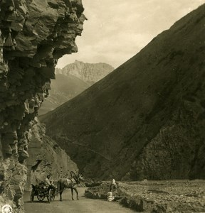 Caucasus Mountain Georgian Military Road near Lars Old Photo Stereoview NPG 1906